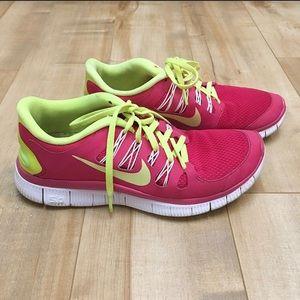 Nike Free 5.0 Neon Pink Yellow Green Running Shoes